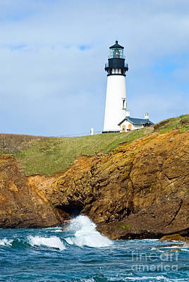Yaquina Head Lighthouse On The Oregon Coast. Art Print