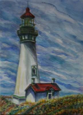Painting - Yaquina Head Lighthouse Original Painting by Quin Sweetman