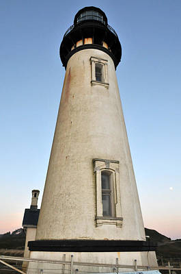 Photograph - Yaquina Head Lighthouse Rising Moon by Rebecca Parker