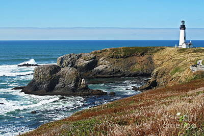 Yaquina Light And Headland Three Print by Donald Sewell