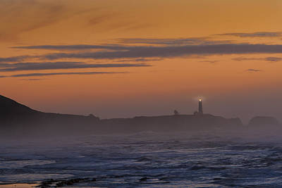 Photograph - Yaquina Lighthouse Fog by Mary Jo Allen