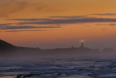 Photograph - Yaquina Lighthouse Fog by Mary Jo Allen