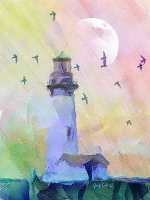 Painting - Yaquina Lighthouse by Greg Collins