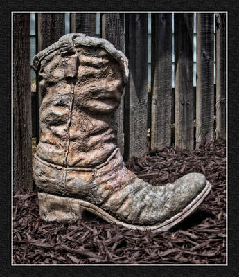 Photograph - Yard Art Boot by Ron Roberts