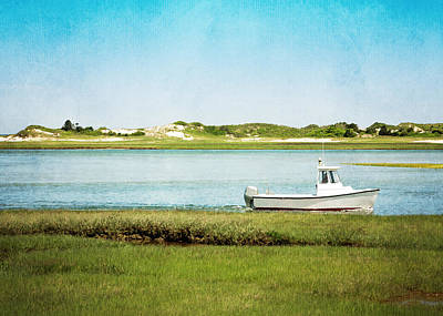 Gray Photograph - Yarmouth Port Fishing Boat In Green And Blue by Brooke T Ryan