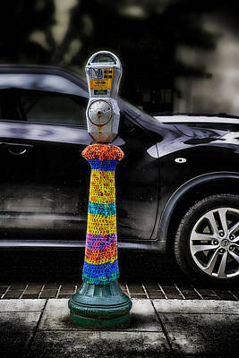 Yarn Bombed Parking Meter Art Print by John Haldane