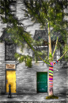 Mixed Media - Yarn Bombed Tree by John Haldane