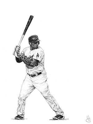 Los Angeles Dodgers Drawing - Yasiel Puig by Joshua Sooter