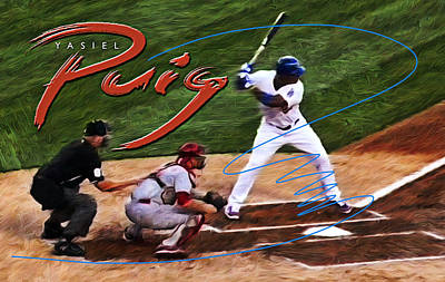 Major League Baseball Digital Art - Yasiel Puig by Ron Regalado