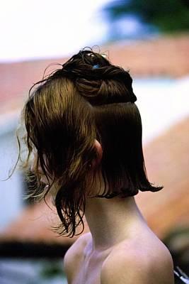 Photograph - Yasmine Sokal During A Haircut by Arthur Elgort