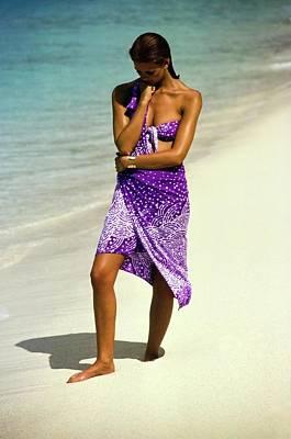 Photograph - Yasmine Sokal Wearing A Purple Ensemble by Arthur Elgort