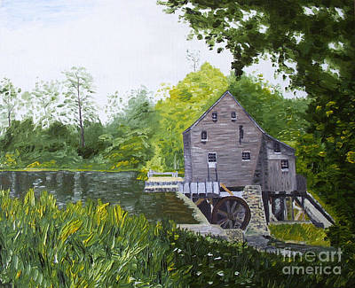 Grist Mill Painting - Yates Mill Summer by Kevin Croitz