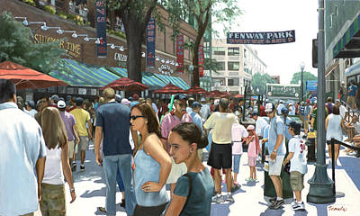 Baseball Scene Painting - Yawkey Way by Linda Tenukas