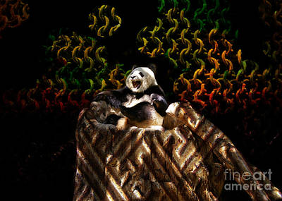 Digitalized Photograph - Yawning Panda  by Mariola Bitner