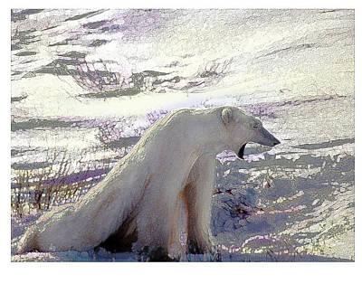 Yawning Polar Bear Art Print