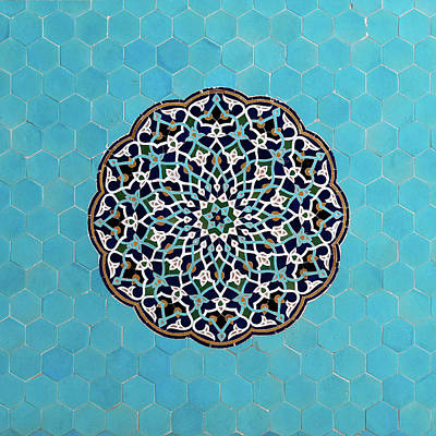 Mosaic Photograph - Yazd Mosque Tiles by Babak Tafreshi