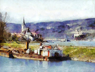 Art Print featuring the painting Ybbs An Der Donau Harbour by Menega Sabidussi
