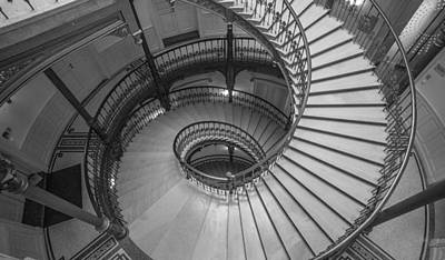 Photograph - Ybl Palace Spiral Staircase 2 by Judith Barath