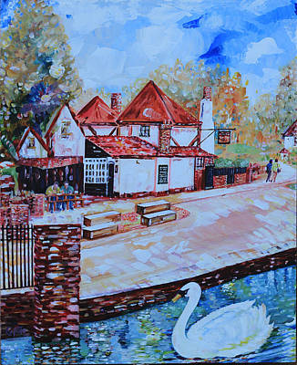 Painting - Ye Olde Fighting Cocks With Swan - St Albans England by Giovanni Caputo