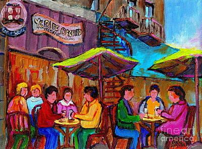Bistro Painting - Ye Olde Orchard Paris Style Sidewalk Cafes Paintings Of Monkland Village Montreal Art Carole Spandau by Carole Spandau