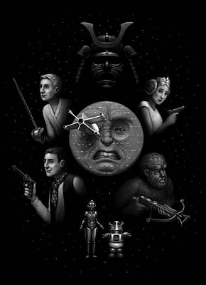 Print featuring the digital art Ye Olde Space Movie by Ben Hartnett