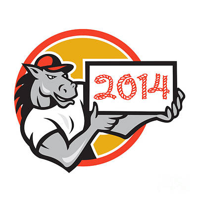 Year Of Horse 2014 Showing Sign Cartoon Art Print by Aloysius Patrimonio