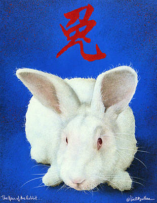 White Rabbit Painting - Year Of The Rabbit... by Will Bullas