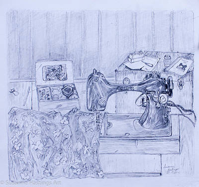 Treasure Box Drawing - Years Gone By - Sewing Machine by Susanne Hastings