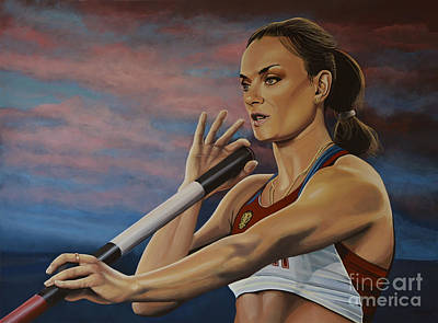 Action Portrait Painting - Yelena Isinbayeva   by Paul Meijering