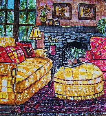 Yello Sofa Art Print by Linda Vaughon