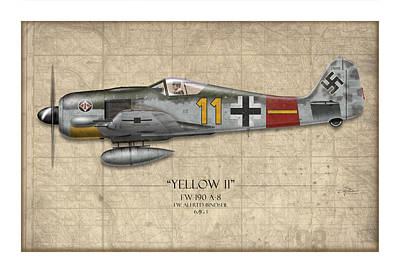 Noses Digital Art - Yellow 11 Focke-wulf Fw 190 - Map Background by Craig Tinder