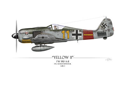 Yellow 11 Focke-wulf Fw 190 - White Background Art Print by Craig Tinder