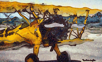 Bi Plane Digital Art - Yellow 1943 Boeing Super Stearman by Barbara Snyder