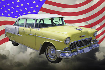 American Cars Photograph - Yellow 1955 Chevrolet Bel Air And American Flag by Keith Webber Jr