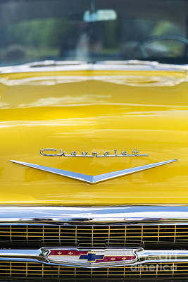 Street Car Photograph - Yellow 1957 Chevrolet  by Tim Gainey
