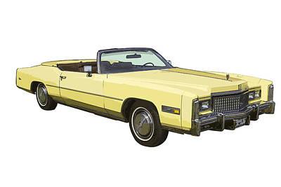 Yellow 1975 Cadillac Eldorado Convertible Art Print by Keith Webber Jr