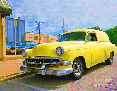 Digital Art - Yellow 54 Chevy Delivery by Liane Wright