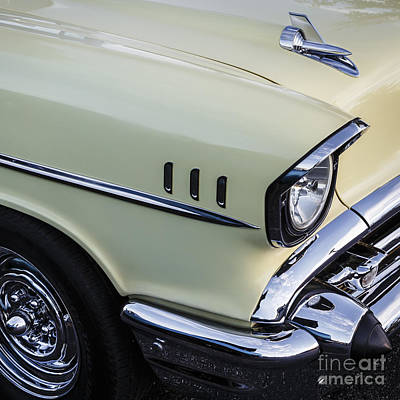 Photograph - Yellow '57 Chevy With Chrome Reverse by Dennis Hedberg