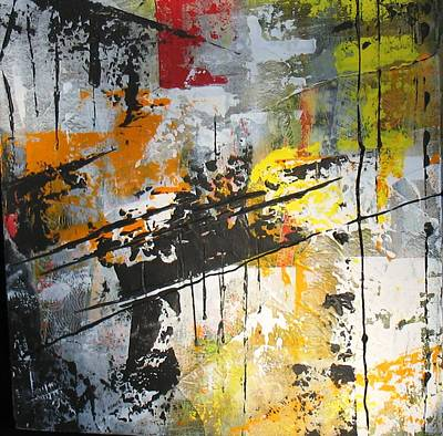 Collage Painting - Yellow Abstract Collage by Louise Adams