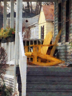 Porch Photograph - Yellow Adirondack Rocking Chairs by Susan Savad