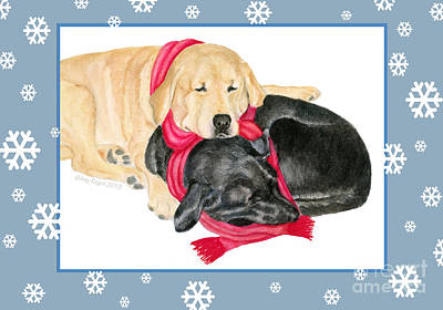 Painting - Yellow And Black Labs Cuddle With Scarf by Amy Reges