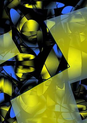 Yellow And Blue Abstract Design Art Print by Mario Perez