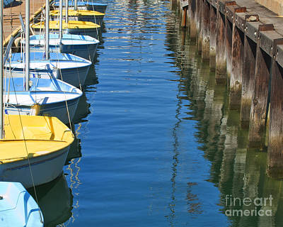 Photograph - Yellow And Blue Sailboats From The Book My Ocean by Artist and Photographer Laura Wrede