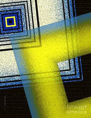 Pointillism Digital Art - Yellow And Blue Art With Textures by Mario Perez