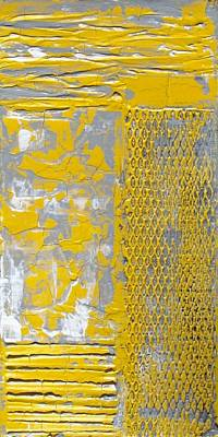 Painting - Yellow And Gray Abstract Painting With Heavy Texture Urban Chic Part Deux by Holly Anderson