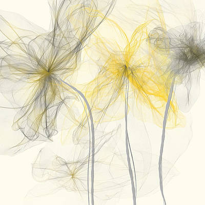 Abstract Royalty-Free and Rights-Managed Images - Yellow And Gray Flowers Impressionist by Lourry Legarde