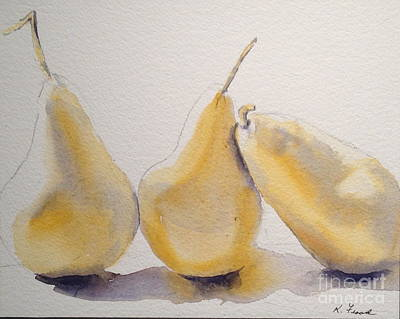 Painting - Yellow And Gray Pears by Kathy Flood