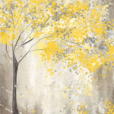 Abstract Art Painting - Yellow And Gray Tree by Lourry Legarde