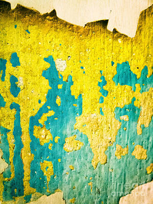 Print featuring the photograph Yellow And Green Abstract Wall by Silvia Ganora