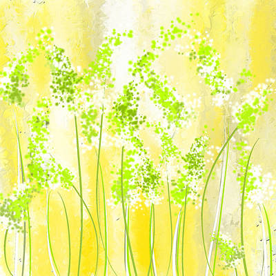 Yellow And Green Art Art Print by Lourry Legarde